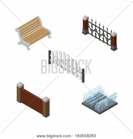 Isometric Urban Set Of Barrier, Fountain, Fence And Other Vector Objects. Also Includes Brick, Fountain, Park Elements.