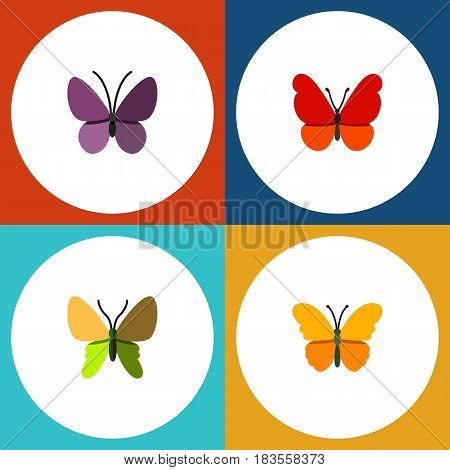 Flat Butterfly Set Of Monarch, Butterfly, Violet Wing And Other Vector Objects. Also Includes Milkweed, Insect, Summer Elements.