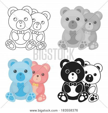 Teddy bears icon in cartoon style isolated on white background. Romantic symbol vector illustration.