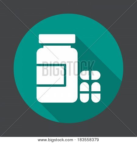 Bottle of pills flat icon. Round colorful button circular vector sign with long shadow effect. Flat style design