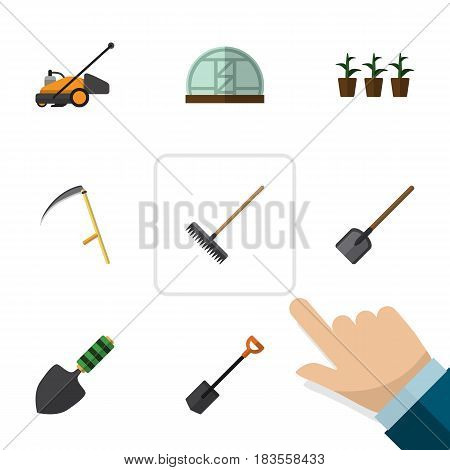 Flat Dacha Set Of Trowel, Harrow, Shovel And Other Vector Objects. Also Includes Cutter, Farm, Plant Elements.