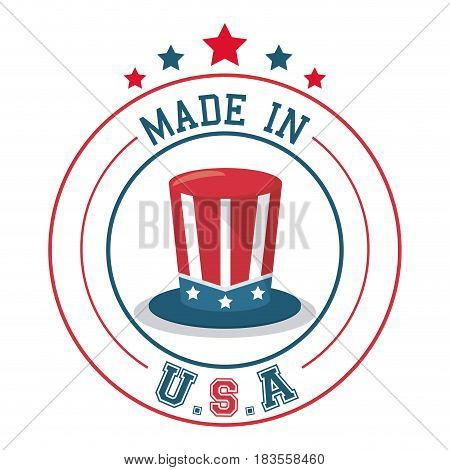 made in USA top hat flag emblem badge vector illustration