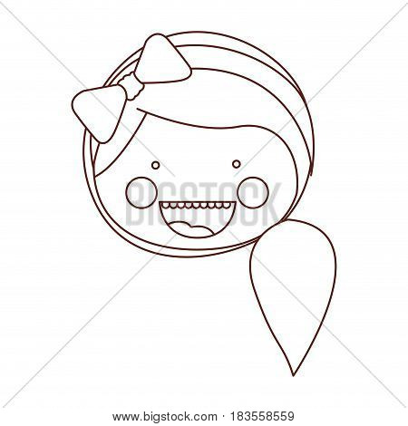 sketch contour smile expression cartoon front face woman with side ponytail hair and bow lace vector illustration
