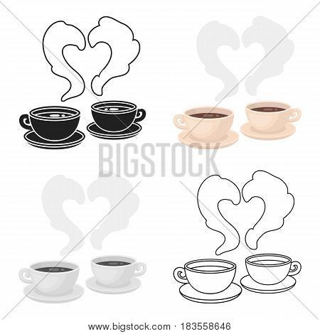 Coffee icon in cartoon style isolated on white background. Romantic symbol vector illustration.