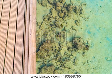 Top view of wooden deck   in tropical Maldives island and beauty of the sea with the coral reefs