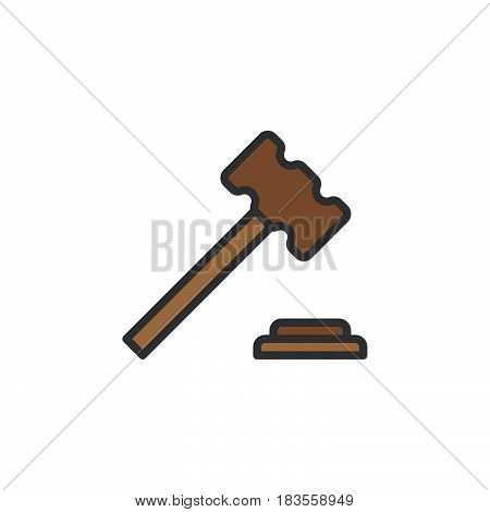 Judge hammer gavel filled outline line icon line vector sign linear colorful pictogram isolated on white. Auction symbol logo illustration. Editable stroke. Pixel perfect