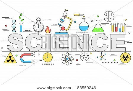 Science line style illustration design with different symbols