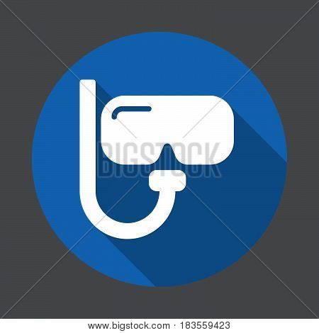 Diving mask flat icon. Round colorful button circular vector sign with long shadow effect. Flat style design