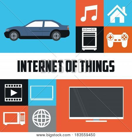 internet of things technology communication smart vector illustration