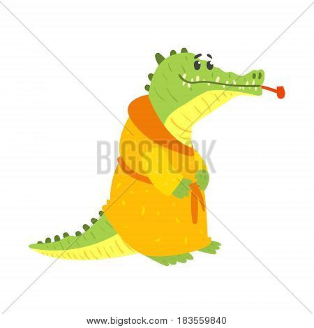 Cute cartoon crocodile wearing in orange bathrobe and smoking pipe in its mouth. African animal colorful character vector Illustration isolated on a white background