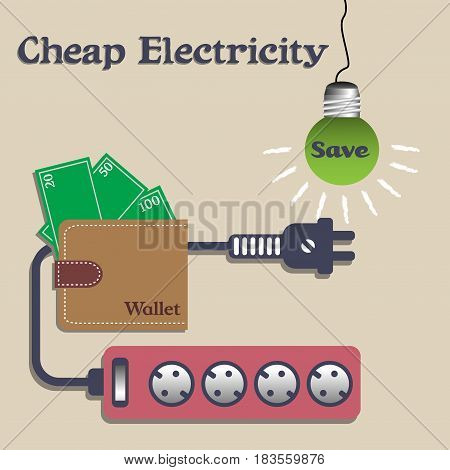 Colorful illustration with extension cord, wallet and a light bulb with the word save written on the bulb. Cheap electricity concept