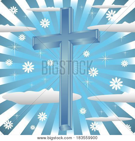 Abstract colorful background with blue cross among clouds
