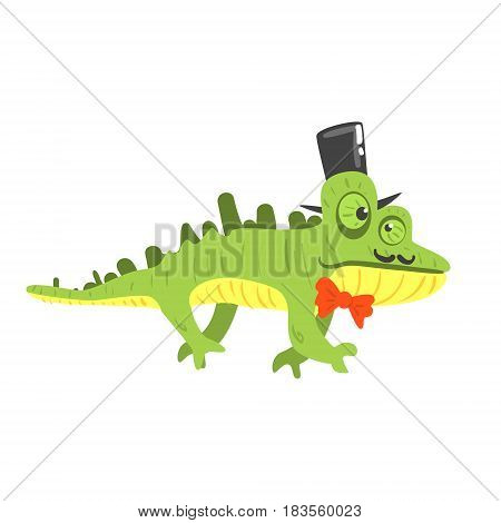 Cite cartoon chameleon wearing black top hat. Colorful character vector Illustration isolated on a white background