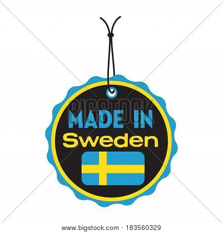 Isolated tag with the text made in Sweden written on the tag
