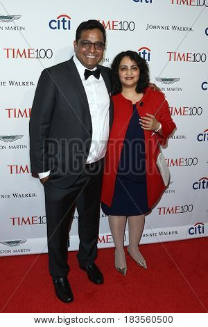 Paytm founder Vijay Shekhar Sharma (L) and Mridula Sharma attend the Time 100 Gala at Frederick P. Rose Hall on April 25, 2017 in New York City.