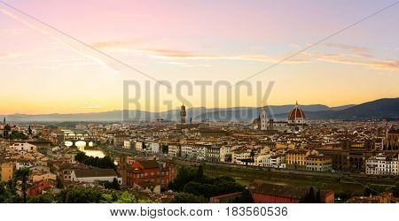 Florence summer sunset panoramic view, Tuscany, Italy