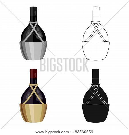 Bottle of wine icon in cartoon design isolated on white background. Wine production symbol stock vector illustration.