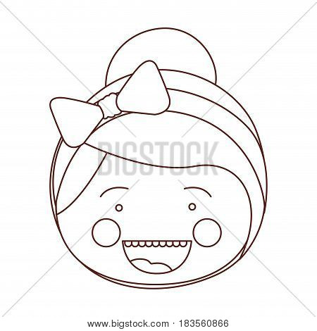 sketch contour smile expression cartoon front face girl with collected hair and bow lace vector illustration