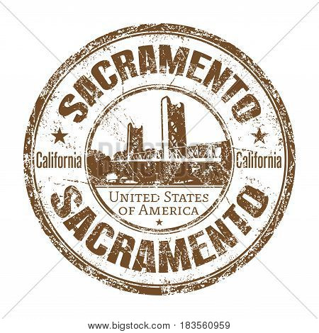 Brown grunge rubber stamp with the name of Sacramento city from United States of America