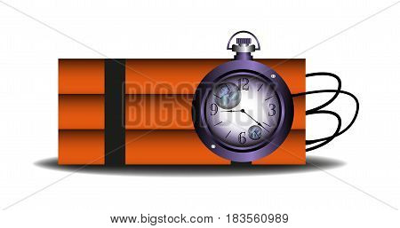 Colorful background with a clock connected to a bomb. Time bomb concept