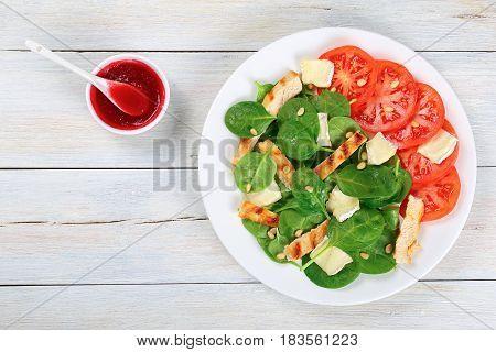 Spinach, Grilled Chicken Breast, Tomato Salad
