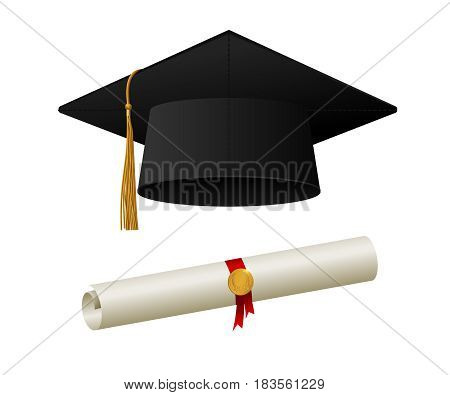 Graduation cap or hat vector illustration in the flat style. Graduation cap isolated on the background.
