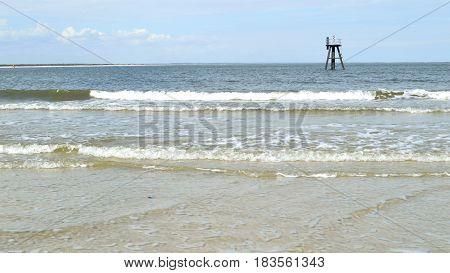 Florida Beach Waves And Navigation Beacon