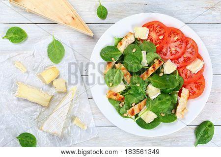 Grilled Chicken Breast, Spinach, Tomato Salad
