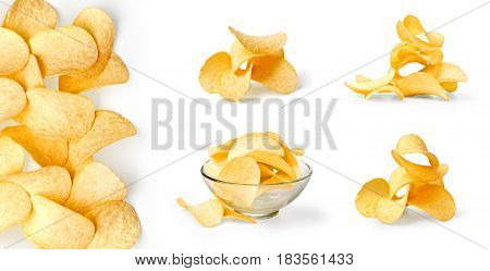 set of potato chips isolated on white background.