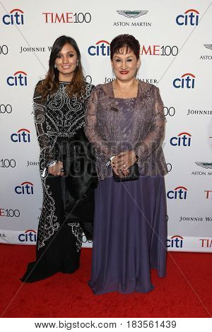 Sophia Lopez (L) and Thelma Aldana attend the Time 100 Gala at Frederick P. Rose Hall on April 25, 2017 in New York City.