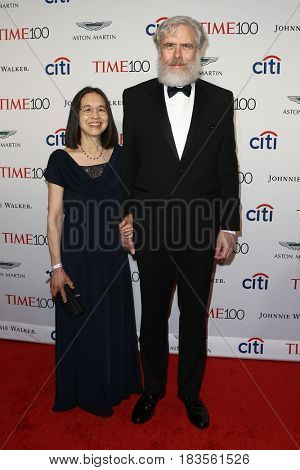 Ting Wu (L) and Professor of Genetics, Harvard Medical School, George Church attend the Time 100 Gala at Frederick P. Rose Hall on April 25, 2017 in New York City.