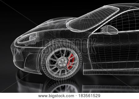 3D sport car vehicle blueprint model with a red brake caliper on a black background. 3d rendered image