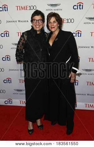 Kathy Abbott (L) and restaurateur Barbara Lynch attend the Time 100 Gala at Frederick P. Rose Hall on April 25, 2017 in New York City.