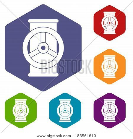 Valve icons set hexagon isolated vector illustration
