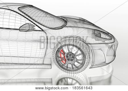 3D sport car vehicle blueprint model with a red brake caliper on a white background. 3d rendered image