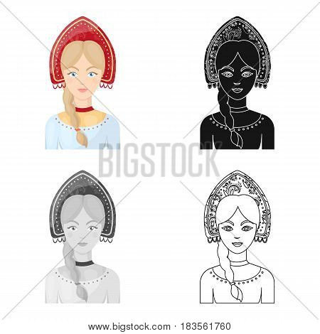 Russian woman in traditional suit icon in cartoon design isolated on white background. Russian country symbol stock vector illustration.