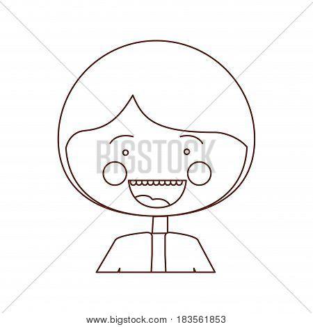 sketch contour smile expression cartoon half body guy with jacket vector illustration