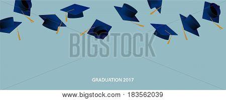 Graduate caps and confetti. Caps thrown up
