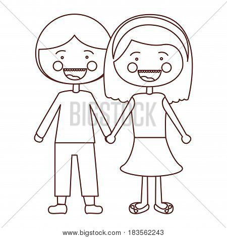 sketch contour smile expression cartoon couple in suit informal with taken hands vector illustration