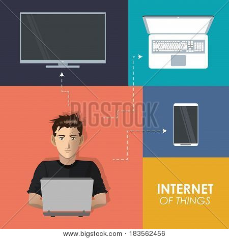 internet things man working laptop technologies mobile phone tv digital vector illustration