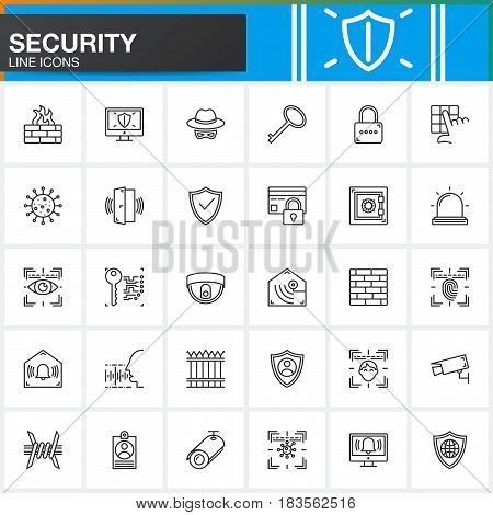 Security protection access line icons set outline vector symbol collection linear style pictogram pack. Signs logo illustration. Include icons as login shield lock alarm spy virus camera
