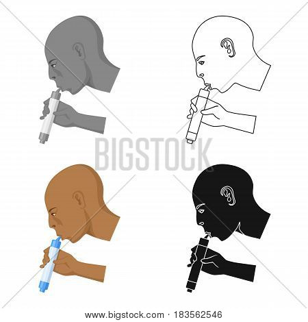 Man drink through compact filter icon in cartoon design isolated on white background. Water filtration system symbol stock vector illustration.