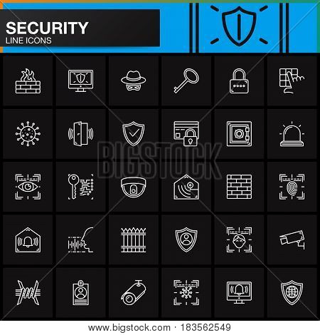 Security protection access line icons set outline vector symbol collection linear white pictogram pack. Signs logo illustration. Include icons as login shield lock alarm spy virus camera