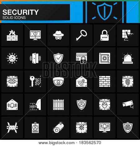 Security protection access vector icons set modern solid symbol collection filled white pictogram pack. Signs logo illustration. Include icons as login shield lock alarm spy virus camera