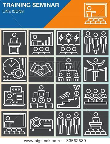 Business training seminar presentation line icons set outline vector symbol collection linear white pictogram pack. Signs logo illustration web graphics