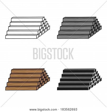 Stack of lumbers icon in cartoon style isolated on white background. Sawmill and timber symbol vector illustration.