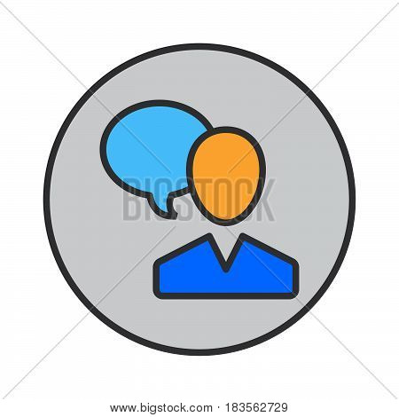 User and speech bubble person talking filled outline icon round colorful vector sign circular pictogram. Symbol logo illustration