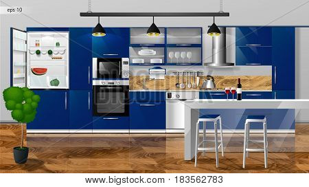 Modern kitchen interior. Vector illustration. Household kitchen appliances cabinets, shelves, gas stove, cooker hood, refrigerator, microwave, dishwasher, cookware