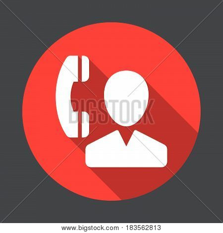 User and phone contact flat icon. Round colorful button circular vector sign with long shadow effect. Flat style design
