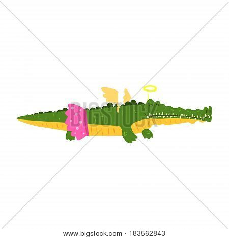 Cute cartoon crocodile girl in pink skirt and wings. African animal colorful character vector Illustration isolated on a white background